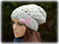 Beanie Long Beanie Crochet Beanie Grau von MiJoBonnet auf Etsy