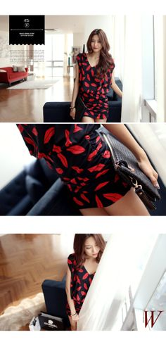 lip printing batik dress - Genuine Korean style fashion from Korea