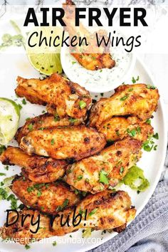 Air Fryer Chicken Wings are succulent juicy and tender! Using a simple dry rub and a tiny bit of oil, we whip up these wings in less than 30 mins! They are finger licking good and are best dipped in sauce!! #easyrecipe #airfryerrecipes @sweetcaramelsunday Side Dish Recipes, Easy Dinner Recipes, Appetizer Recipes, Sunday Recipes, Easy Recipes, Dinner Ideas, A Food, Good Food, Air Fryer Chicken Wings