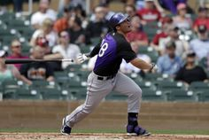 Colorado Rockies' Nolan Arenado hits a pop fly while batting against the Arizona Diamondbacks during the first inning of a spring training baseball game on Friday, Feb. 28, 2014, in Scottsdale, Ariz. (AP Photo/Gregory Bull)