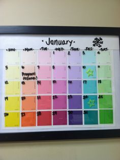Diy dry erase calendar get a cheap frame from the thrift store had this pinned deleted it pinning again to use as a chore chart instead paint chip calendarcalendar ideaspaint chipsdiy solutioingenieria