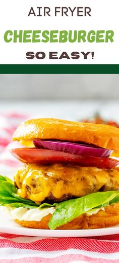 When you are craving a juicy steakhouse burger, let your air fryer do the work! This Air Fryer Burger is the perfect easy weeknight meal for busy families and is guaranteed to give smiles all around! Instant Pot Red Potatoes, Cooks Air Fryer, Cheeseburger Recipe, Burger Press, How To Cook Burgers, Asparagus Fries, Air Fryer Healthy, Chicken Cutlets, Breakfast Options