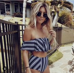 $20 - $60 Off The Shoulder High Waisted Blue White Breton Stripe Matching Two Piece Bikini Set Swimsuit Summer Beach Tumblr
