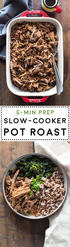 Learn how to make the easiest and yummiest and NO MESS Slow-Cooker Pot Roast or Crock Pot Roast you have tried in your life! 5 minutes prep for a dump and go recipe that'll reward you with an insanely good dinner! No browning required! via @greenhealthycoo