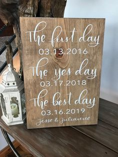First Day Yes Day Best Day Wedding Sign - Best Dates Wedding Sign - Wedding Gift - Wedding Si. First Day Yes Day Best Day Wedding Sign - Best Dates Wedding Sign - Wedding Gift - Wedding Signs - Wedding Decor - Custom Wedding Sign -, Wedding Date Sign, Our Wedding, Dream Wedding, Gift Wedding, Fall Wedding, Wedding Reception Signs, Wood Wedding Signs, Wedding Sign In Ideas, Wedding Sayings