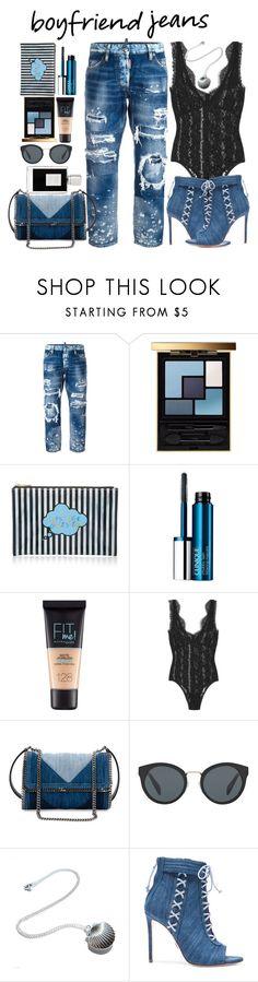 """Boyfriend Jeans"" by mizzura ❤ liked on Polyvore featuring Dsquared2, Yves Saint Laurent, Forever 21, Clinique, Maybelline, By Malene Birger, STELLA McCARTNEY, Prada, Oscar Tiye and Kilian"