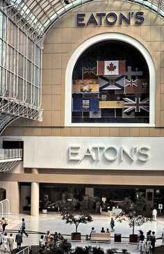 The Eaton's Department Store at the Eaton Centre, Toronto, Ontario, Canada . Toronto Ontario Canada, Toronto City, Toronto Travel, Eaton Centre, Canadian Things, Madrid, Canada Travel, Backpacking Canada, Canada Canada