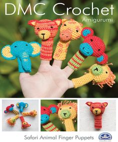 "If you love Amigurumi this DMC pattern leaflet is a must have. With easy to follow steps, you'll seamlessly be on your way to creating your own theatrical show with the Safari Animal Finger Puppets. A dull afternoon can be waved away with one hand. Finished measurements (approx): monkey and elephant - 3.5"" x 3.5""; giraffe, lion, and tiger - 2"" x 3.5. Thread not included. Note: Finished product is not intended as a toy."