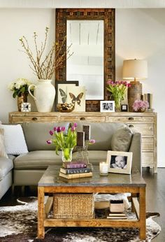 Decor Accents A large reclaimed console and faux cowhide rug diversify the nuanced neutrals of this room. Home Living Room, Living Room Decor, Living Spaces, Small Living, Modern Living, Living Room Inspiration, Home Decor Inspiration, Decor Ideas, Decorating Ideas
