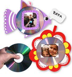 Pra Gente Miúda: Porta retratos com CDs reciclados e EVA