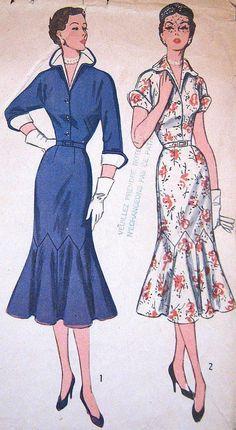 Vintage 1950s Slim Dress Pattern Trumpet Skirt and detachable collar - Simplicity #8384
