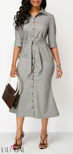 Belted Light Grey Button Up Sheath Dress #liligal #dresses #womenswear #womensfashion