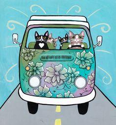 A Spring Road Trip Original Cat Folk Art Painting by KilkennycatArt on Etsy