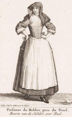 "1706. Detail of ""Paisanne du Helder, pres du Texel / Boerin van de Helder, over Texel"" (Farmer's wife from Helder, on Texel) by Bernard Picart.  18th century women's clothing - Dutch - island of Texel, province of NoordHolland, Netherlands"