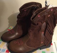 Girls-Western-Boots-Size-9-Fringe-Style-Brown-Wonderkids-Youth-DEAL