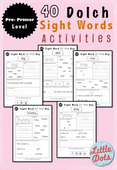 Dolch Pre-Primer Sight Words Activities and worksheets for pre-k or kindergarten class.