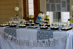 high school graduation cupcakes towers | Cassie's Graduation Dessert Table