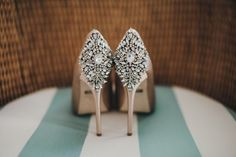 Jeweled Champagne Bridal Shoes | Vitaly M Photography | Get the Look - Find the Perfect Bridal Style