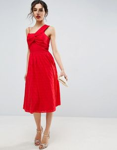 ASOS Red One Shoulder Midi Sundress in Dobby Fabric