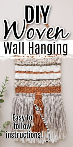 DIY Woven Wall Hanging (the Ultimate Beginner's Guide) – Sustain My Craft Habit Yarn Projects, Diy Craft Projects, Decor Crafts, Craft Ideas, Yarn Crafts, Project Ideas, Diy Crafts, Cheap Dorm Decor, Easy Home Decor