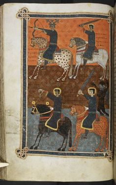 Four Horsemen of the Apocalypse, from Beatus of Liébana, Commentary on the Apocalypse (The 'Silos Apocalypse'), Spain (Santo Domingo de Silos), 1091-1109, Add MS 11695, f. 102v
