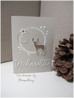 "I love the ""winter wreaths"" set. I especially liked the large round stamp . Stamped Christmas Cards, Stampin Up Christmas, Christmas Cards To Make, Xmas Cards, Handmade Christmas, Holiday Cards, Christmas Crafts, White Christmas, Handmade Scrapbook"