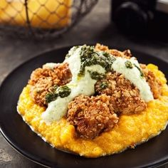 Butter-Fried Oatmeal-Breaded Chicken with Zucchini Cream & Pesto on Pumpkin Mash