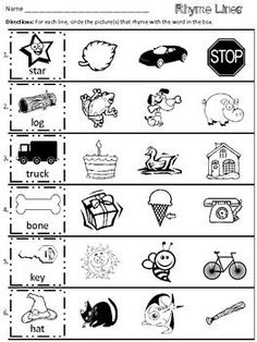This is a rhyming worksheet that requires students to circle the picture(s) that rhyme with the first word of each line.  Only basic rhymes are included.