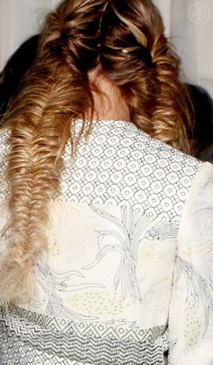 Soft, pulled-apart fishtail braids at Tory Burch Spring 2013