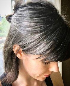 Trendy Hair Color Grey Highlights Going Gray Dyes 38 Ideas Grey Hair Over 50, Silver Hair Highlights, Grey Hair Inspiration, Natural Hair Styles, Short Hair Styles, Gray Hair Growing Out, Transition To Gray Hair, Silver Grey Hair, Grey Brown Hair