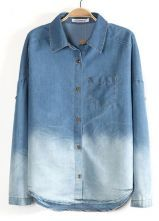 Blue Gradient Lapel Long Sleeve Denim Blouse $30.65