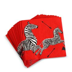 Red #scalamandre cocktail napkins