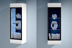 Medern Display Cabinet HIGH GLOSS WHITE | New Brand Wall Unit with Lights FEVER