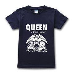 Queen band logo adam lambert logo men s t shirt dark blue