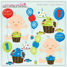 Baby Boy Cake Smash Cute Digital Clipart for by JWIllustrations, $5.00