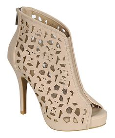 Nude Perforated Peep-Toe Booties by Bamboo