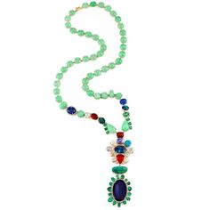Irene Neuwirth ONE OF A KIND NECKLACE WITH MIXED MINT CHRYSOPRASE, BOULDER OPALS, EMERALDS AND MEXICAN FIRE OPALS