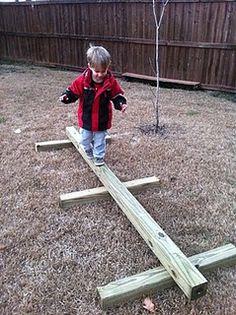 Ideas For Diy Kids Backyard Play Area Balance Beam Kids Outdoor Play, Outdoor Play Spaces, Kids Play Area, Backyard For Kids, Diy For Kids, Indoor Play, Preschool Playground, Natural Playground, Backyard Playground