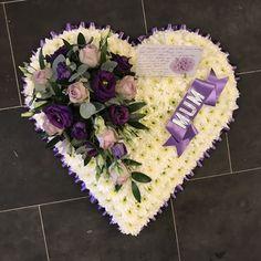 Funeral Flower Arrangements, Funeral Flowers, Casket Flowers, Funeral Ideas, Casket Sprays, Lilac Roses, Personalized Ribbon, Sympathy Flowers, Construction Paper