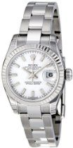 Rolex Datejust White Dial Fluted 18kt White Gold Bezel Ladies Watch 179174WSO $6,220.50 Rolex Shop, Rolex Datejust, Automatic Watch, Oysters, Rolex Watches, Bracelet Watch, White Gold, Stainless Steel, Lady