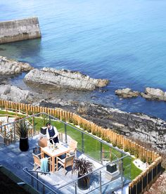 Dining at Cliff House Hotel overlooking Ardmore Bay, Co. Waterford, Ireland.
