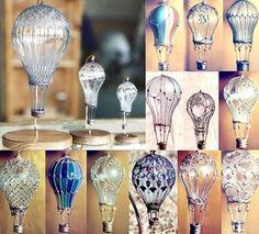 Hot Air Balloons from light bulbs.