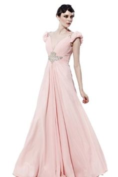 Amazon.com: Coniefox V-neck Long Formal Dress with Puff Sleeve: Clothing