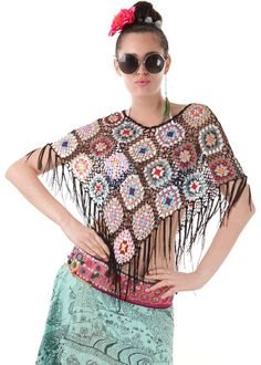 Gypset Poncho Patchwork schwarz: INDIAN SUMMER, Germany
