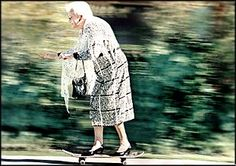 Riding a Skateboard at 86. Go Granny, Go! A postcard of 86-year-old Anne Wright, in heels, on her skateboard in 1998.