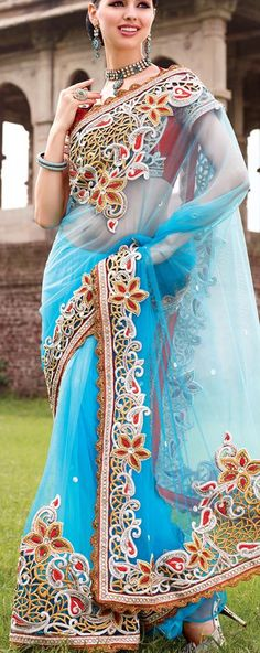 $133.27 Blue Net Saree 18363 With Unstitched Blouse