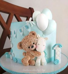 Baby Shower Cake Teddy bear by Couture cakes by Olga Baby Cakes, Baby Shower Cakes, Tortas Baby Shower Niña, Teddy Bear Baby Shower, Baby Boy Shower, Baby Showers, Baby Boy Birthday Cake, Birthday Cake For Kids, Teddy Bear Birthday Cake