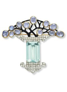 Vase Brooch, rectangular-cut aquamarine, with circular-cut diamond detail, to the cabochon purple sapphire and black enamel openwork plaque, mounted in platinum and 18k gold, circa 1925, Georges Fouquet.