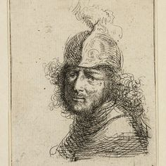 Rembrandt- Kop van een man met helm. I chose this piece because I'm intrigued by the amount of detail that the print contains