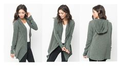 """Olive hooded cardigan - Caralase"" by caralasefashion ❤ liked on Polyvore"